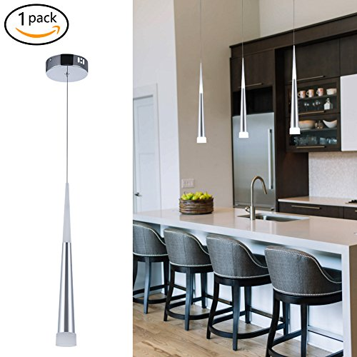Harchee Mini Modern Pendant Light in Silver Brushed Finish with Acrylic Shade, Adjustable LED Cone Pendant Lighting Fixture for Kitchen Island, Dining Room, Farmhouse, Bar, 6W, Daylight 6000K