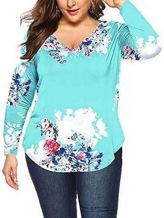 Amoretu Women Floral Print Plus Size Shirts Soft Long Sleeve Tunic Tops(Blue,XL)