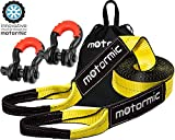 motormic Tow Strap Recovery Kit - 20 ft x 3 in (30,000 lbs.) Tow Rope + 3/4' D Ring Shackles (2pcs.) + Storage Bag - Heavy Duty Straps for Winch - Truck, Car, ATV, Off Road Vehicle Towing