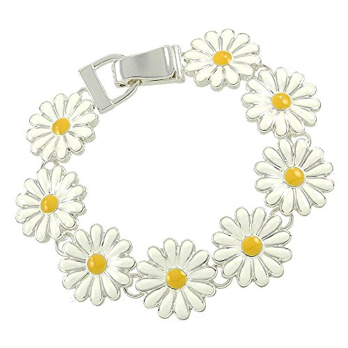 CFG ONLINE Silver Tone White and Yellow Enamel Daisy Flower Floral Charm Bracelet with Magnetic Clasp