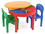 Tot Tutors Kids 2-in-1 Plastic LEGO-Compatible Activity Table and 2 Chairs Set, Primary Colors (Kitchen)