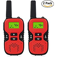 Leagway Kids Walkie Talkies, 2 Pack Portable 3KM Long Rang 8 Channels Two Way Radio Toy Bulit-in Flashlight GMRS/FRS Mini Walkie Talkie for Outdoor Adventure Camping Hiking (Red)