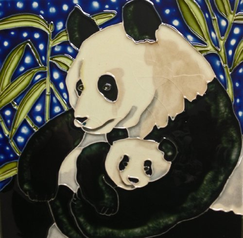 Continental Art Center BD-0417 8 by 8-Inch Panda Mother and a Baby Ceramic Art - Baby Tile Coaster