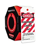 Accuform Signs TAR478 Tags by-The-Roll Lockout Tags, Legend''Danger Equipment Locked Out'', 6.25'' Length x 3'' Width x 0.010'' Thickness, PF-Cardstock, Red/Black on White (Roll of 250)
