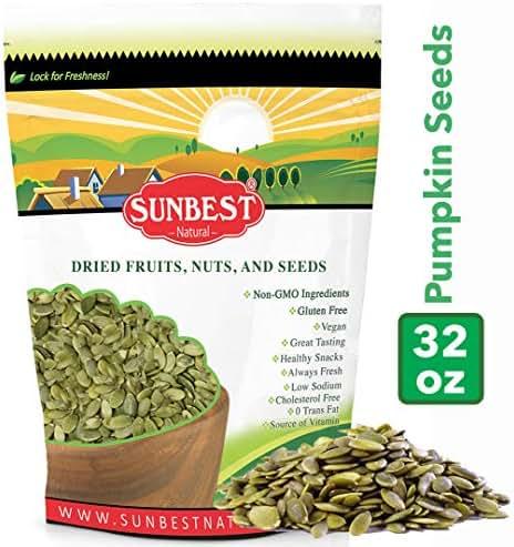 SUNBEST Shelled Unsalted Raw Pumpkin Seeds/Pepitas Raw, No Shell, Pumpkin Seed Kernels (Raw, 2 Lb)