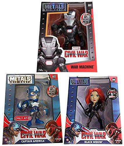 Marvel Metals Series Civil War Captain America Exclusive + War Machine + Black Widow Metal Figure Characters