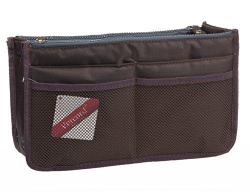 Vercord Updated Purse Handbag Organizer Insert Liner Bag in Bag 13 Pockets 3 Size, Coffee S (Extra Small Handbag)