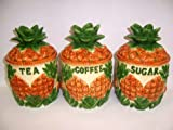 Hand Painted Fine Ceramic Pineapple Design 3 Pieces Storage Jar Set with Lid for Coffee, Sugar, Tea -- 7