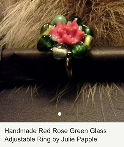 Handmade Red Rose with Wire Wrapped Glass Green Accents Adjustable ring / By J Papple (J Ring Glass)