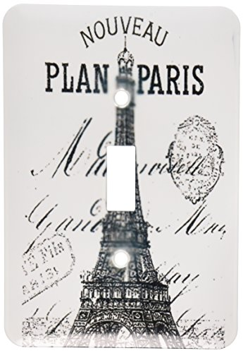 3dRose LLC lsp_110389_1 Nouveau Paris Vintage Eiffel Tower Single Toggle Switch