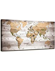 Canvas Wall Art Grey map of The World Painting Ready to Hang Large Framed Wall Art World Map Canvas Art Map Wall Decorations Artwork Prints for Background for Home