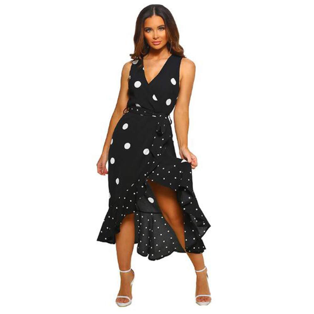 RATWIFE 2019 Women's Fashion Polka Dot Irregular Ruffle Dress