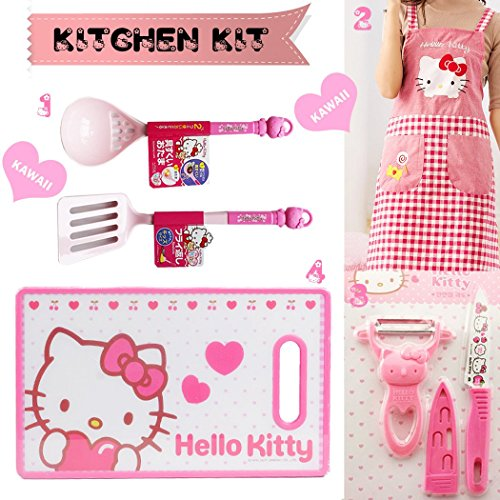(Sanrio Japan Hello Kitty Everyday Kitchen tool Set of 6 Pink Series: Spatula, Skimming Ladle, Fruit Knife & Peeler, Arpon & Home Kitchen Cutting Board - Great gift for someone who loves to cook)