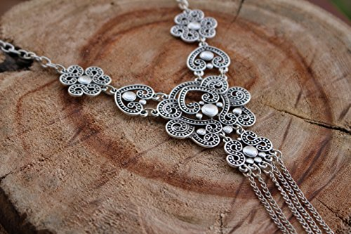 Elegant Chunky Small Simple Retro Vintage Antique Silver Boho Trendy Unique Statement Fashion Necklace by Generic (Image #3)
