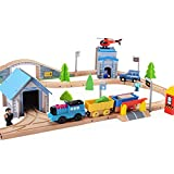 80 pcs Wooka Wooden Train Track Set,  Compatible with Thomas, Brio, Chuggington,Toddler Toys for kids