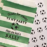 Soccer Party Treat Bags with Stickers, Thanks for Coming to My Party, Hope you HAD A BALL!, Green and White Rugby Stripe, Set of 48 Bags and 48 Stickers