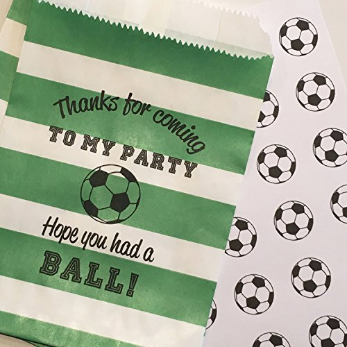Soccer Party Treat Bags with Stickers, Thanks for Coming to My Party, Hope you HAD A BALL!, Green and White Rugby Stripe, Set of 48 Bags and 48 Stickers by Bakers Bling