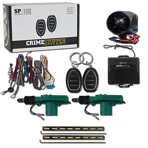 Universal Door Lock Actuator 2 Wire Crimestopper SP-102 1-Way Car Alarm System with 2 Remotes /& Keyless Entry