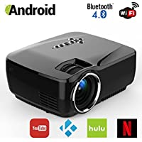 Android WiFi Bluetooth Projector (Warranty Included), ERISAN Multimedia Mini Pro Portable LED Projector For Home Theater Movie Video Games App (Black)