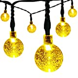 easyDecor Solar Globe String Lights 21 ft 8 Modes 30 LED Bubble Crystal Ball Christmas Lights for Outdoor Indoor Garden Patio Home Holiday Path Lawn Party Decoration (Warm White)
