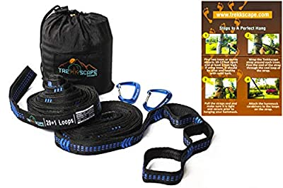 Trekkscape XL Hammock Straps Set - Camping Hammock Tree, 2 12kN Carabiners & Bag, 20Ft Long w/ 40 + 2 Loops, 2000 LBS No Stretch Material, Strong Triple Stitch, Lightweight Suspension Kit, Easy Hang