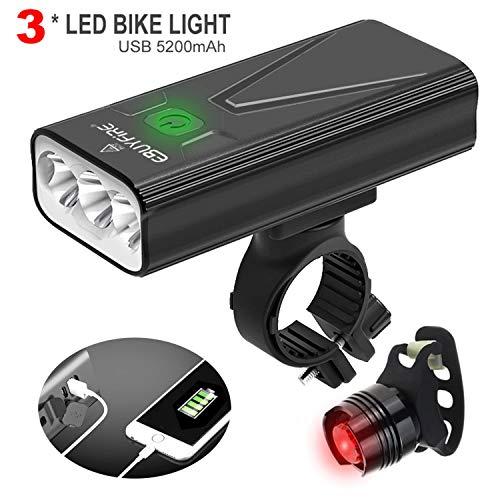 EBUYFIRE Luz Bicicleta Recargable USB,luz Delantera Bicicleta 3000 Lúmenes Super Brillante 3LED,Y una Luz Trasera,3 Modo…