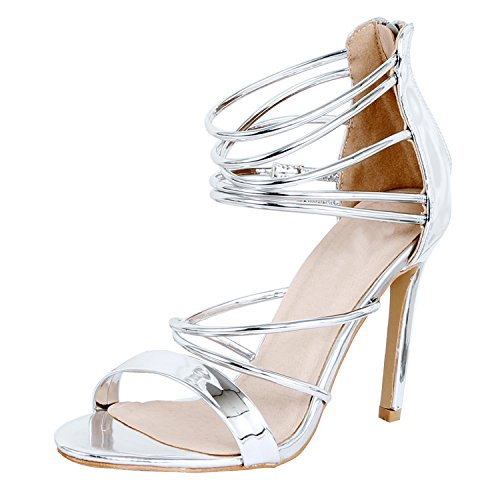 Guilty Shoes - Women Sexy Metallic Ankle Strap Zip up Dress - Open Toe Stiletto Sandals (5.5 B(M) US, Silverv2 (Metallic Dress Shoes)