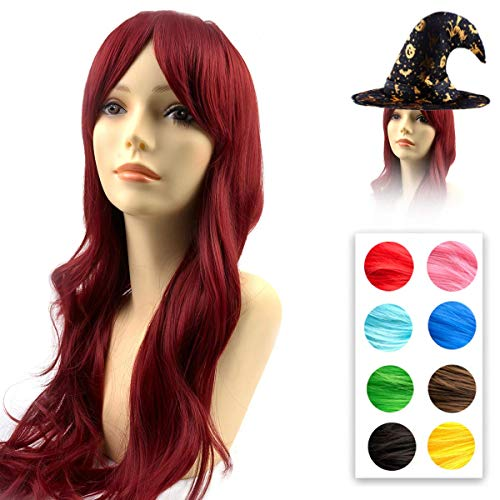 Modernfairy Wine Red Wig Long Natural Wavy Glueless Full Halloween Party Wig Heat Resistant Synthetic Hair Wigs for Women Girls 23 Inches