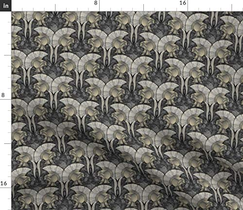 (Roman Helmets Fabric - Steel War Gladiators Fighting Greek Military History Armor Spartan Print on Fabric by the Yard - Basketweave Cotton Canvas for Upholstery Home Decor Bottomweight Apparel)