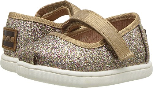 TOMS Kids Baby Girl's Mary Jane (Infant/Toddler/Little Kid) Gold Iridescent Glimmer 6 M US Toddler (Footwear Gold Leather Toddler)