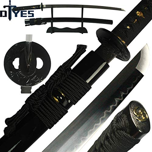 (DTYES Japanese Samurai Katana Sword/Japanese Sword Customization, (1060 Carbon Steel Blade-Classic Golden Tsuba) ((Original Katana) T10 Carbon Steel Clay Tempered Blade-Black Iron Bamboo Tsuba))