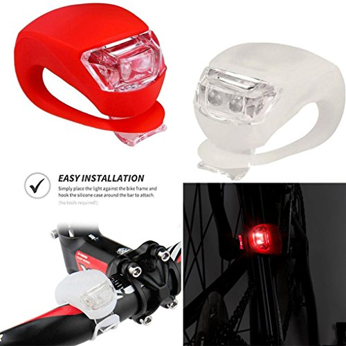 Oldeagle 2Pcs 2 LED Silicone Mountain Bike Bicycle Front Rear Lights Set Push Cycle Clip Light White+Red