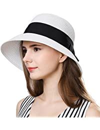 Packable UPF Straw Sunhat Women Summer Beach Wide Brim Fedora Travel Hat 54-59CM
