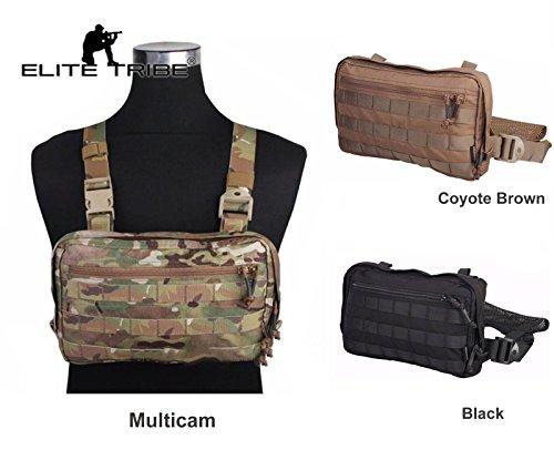 Elite Tribe Combat Tactical Vest Pouch Bag Chest Recon Bag Tools Molle Pouch (Black)