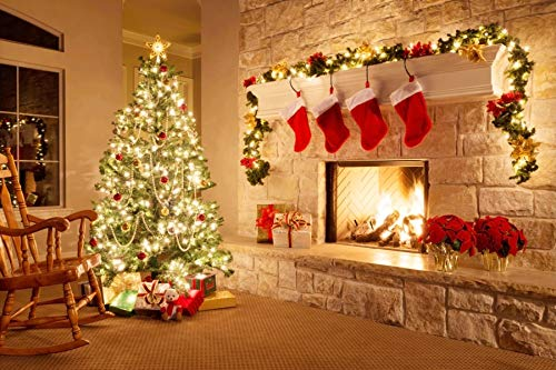 Leyiyi 8x6ft Photography Background Merry Christmas Backdrop Happy New Year Rustic Xmas Tree Pine Fireplace Socks Vintage Stone Wall Red Balls Cold Winter Wreath Gift Photo Portrait Vinyl Studio Prop