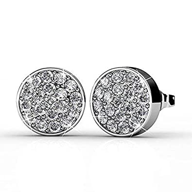 256f70af3943f Cate & Chloe Nelly 18k White Gold Pave Stone Stud Earrings with Swarovski  Crystal Cluster, Round Cut Swarovski Stones, Stud Earring Set, Trendy ...