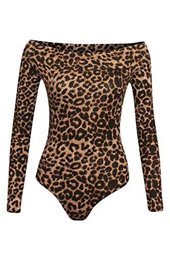 Bardot Tuta Womens Marrone 8 Body 21fashion Spalla Leopardo Stampati Fuori Delle Maniche Di Top Lunghe 22 Signore La Dalla Body Spalla Un81w