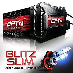 OPT7 Blitz Slim HID Kit - 3.5x Brighter - 4x Longer Life - All Bulb Sizes and Colors - 2 Yr Warranty - H13 Bi-Xenon [6000K Lightning Blue Light]