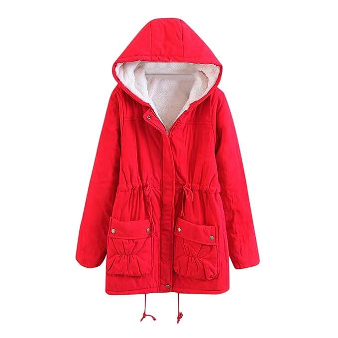 Linlink Mujeres Invierno Caliente Outwear sólido con Capucha Bolsillos Vintage Abrigos de Gran tamaño: Amazon.es: Ropa y accesorios