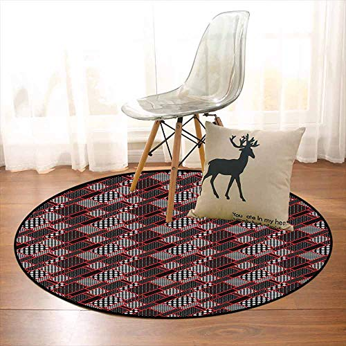(Red and Black Non-Slip Absorbent Carpet Geometric Rectangle Frames Retro Patterns Polka Dots and Houndstooth Better underfoot Protection D59 Inch Black White Scarlet)