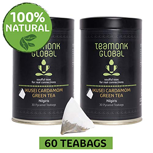 Nilgiri Cardamom Green Tea, 60 Teabags-Pack of 2 (30 Teabags each) | Supports Weight Loss & Digestion | 100% Natural Cardamom with Whole Leaf Green Tea | No additives