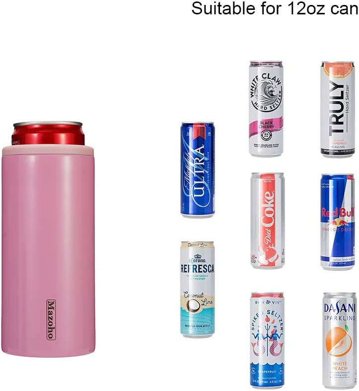 Mazoho Skinny Can Cooler Double Walled Stainless Steel Sleeve Vacuum Insulated Can Insulator Beer Holder for 12oz Slim Cans,Bottles,Skinny Cans,Can Keeper