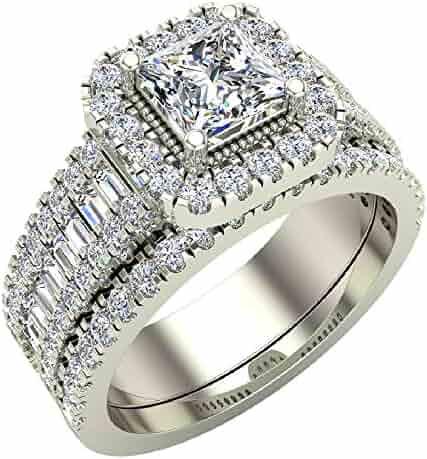 Stunning Princess Cushion Halo Diamond Wedding Ring Set 1.60 ctw 14K Gold (G,I1)
