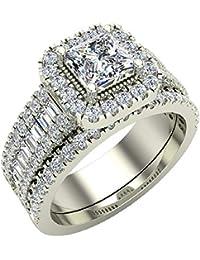 Stunning Princess Cushion Halo Diamond Wedding Ring Set 1.60 ctw 14K Gold (J,I1)