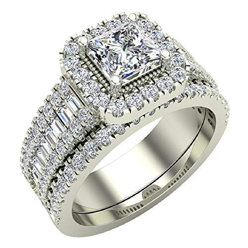 Princess Cut Diamond Cushion Halo Wedding Ring Set 1.60 carat total weight 14K White Gold (Ring Size 7.5) (Princess Cut Diamond Bridal Set 14k White Gold)
