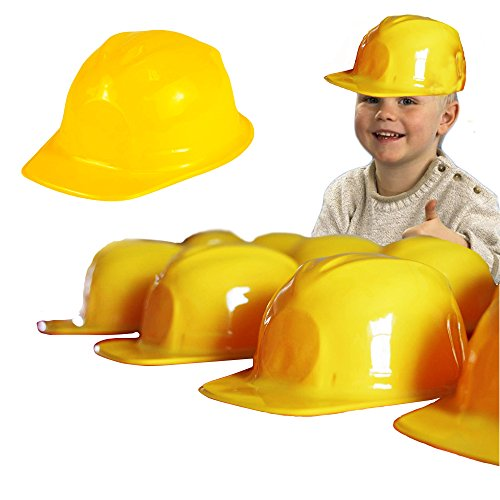 Toy Cubby Mega Pack of 6 - Yellow Plastic Construction Helmets - Pretend Play Hats for All Ages! ()
