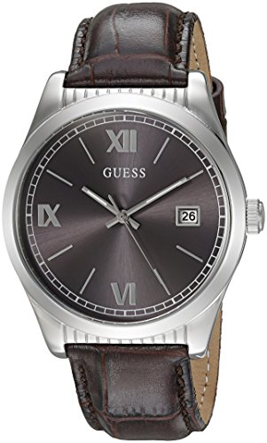 GUESS Men's U0874G1 Dressy Silver Stainless Steel Multi-Function Watch with Date Dial and Genuine Leather Strap Buckle