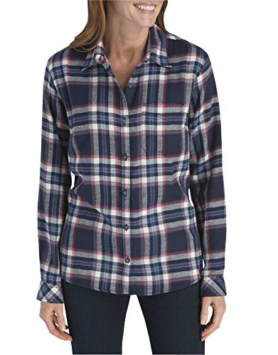 Dickies Women's Long-Sleeve Plaid Flannel Shirt, Black Iris/Texas Topez, Large ()