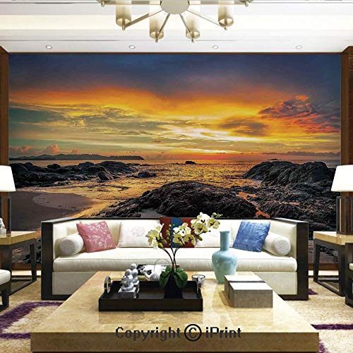 Lionpapa_mural Removable Wall Mural Ideal to Decorate Your Dining Room,Colorful Majestic Sunrise Sky Over The Ocean with Rock Calm Asian Seacoast Photo,Home Decor - 100x144 inches ()