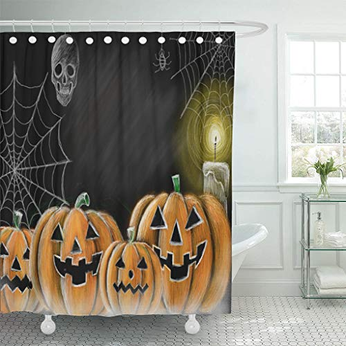 Ladble Waterproof Shower Curtain Curtains Drawing Halloween Pumpkin Cobweb Spider Skull and Candle Chalkboard Copy Space for Your Texts 72